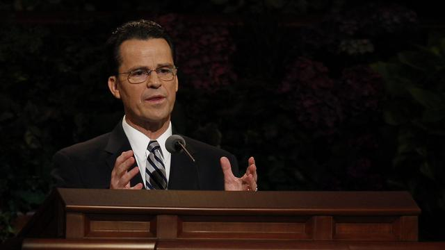 Elder Shayne M. Bowen of the Seventy speaks at the Saturday morning session of general conference, 6 October 2012
