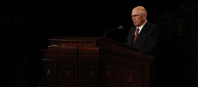 Elder Dallin H. Oaks of the Quorum of the Twelve Apostles speaks at the Saturday afternoon session of general conference, 6 October 2012