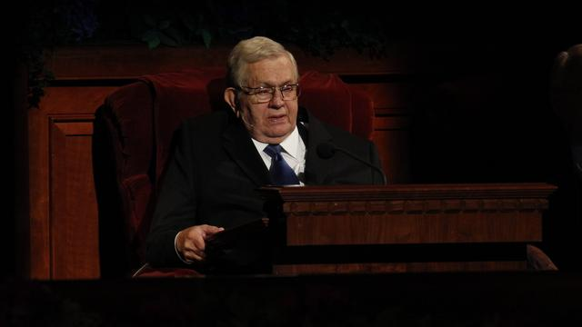 President Boyd K. Packer of the Quorum of the Twelve Apostles speaks at the Sunday morning session of general conference, 7 October 2012