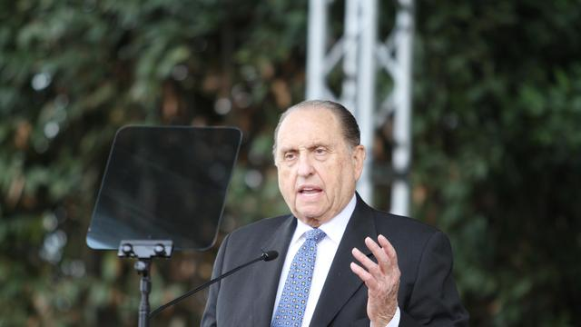thomas monson podium rome temple groundbreaking