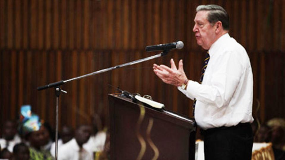 Elder Holland speaking to the members in West Africa