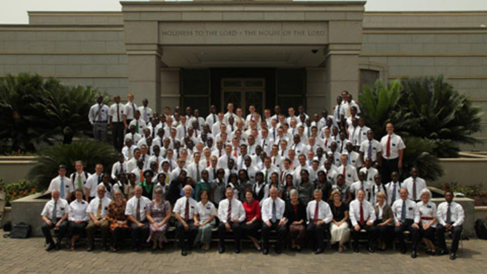 Missionaries gather in front of the temple in Accra, Ghana, after a conference.