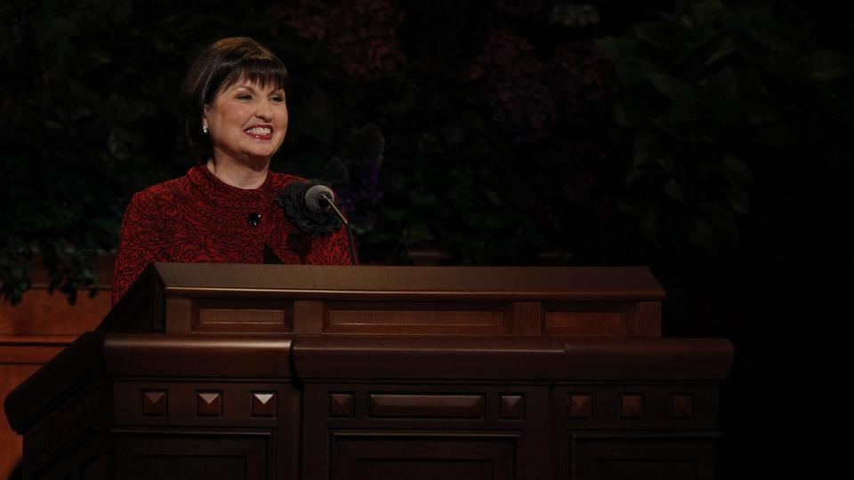Sister Ann M. Dibb, of the Young Women's Presidency speaks at the Saturday morning session of general conference, 6 October 2012