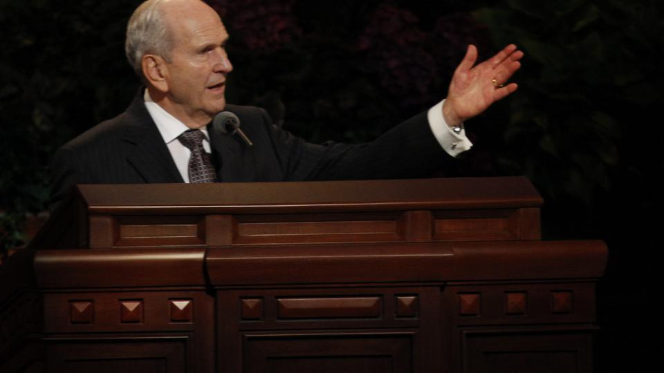 Elder Russell M. Nelson of the Quorum of the Twelve Apostles speaks at the Saturday morning session of general conference, 6 October 2012