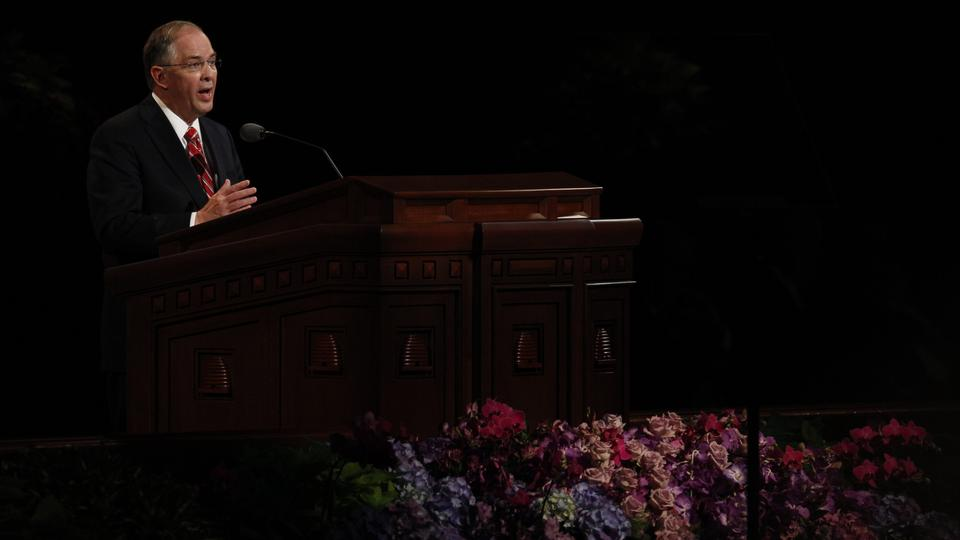 Elder Neil L. Andersen of the Quorum of the Twelve Apostles speaks at the Saturday afternoon session of general conference, 6 October 2012