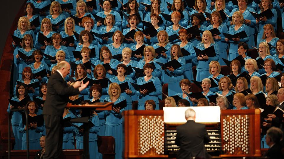 Mack Wilberg directs the Mormon Tabernacle Choir during the Saturday morning session of general conference