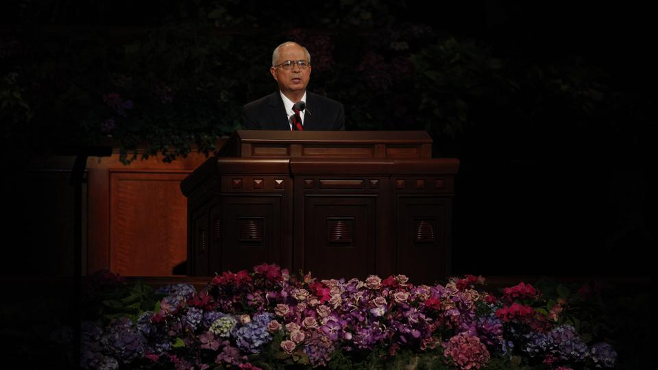 Elder Larry Echo Hawk of the Seventy speaks at the Saturday afternoon session of general conference, 6 October 2012