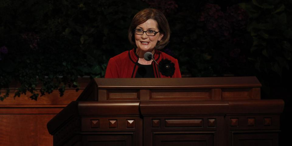 Sister Linda K. Burton, Relief Society General President, speaks at the Sunday morning session of general conference, 7 October 2012