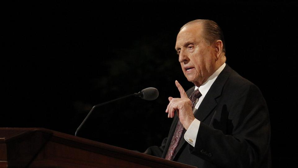 President Thomas S. Monson speaks at the Sunday morning session of general conference, 7 October 2012