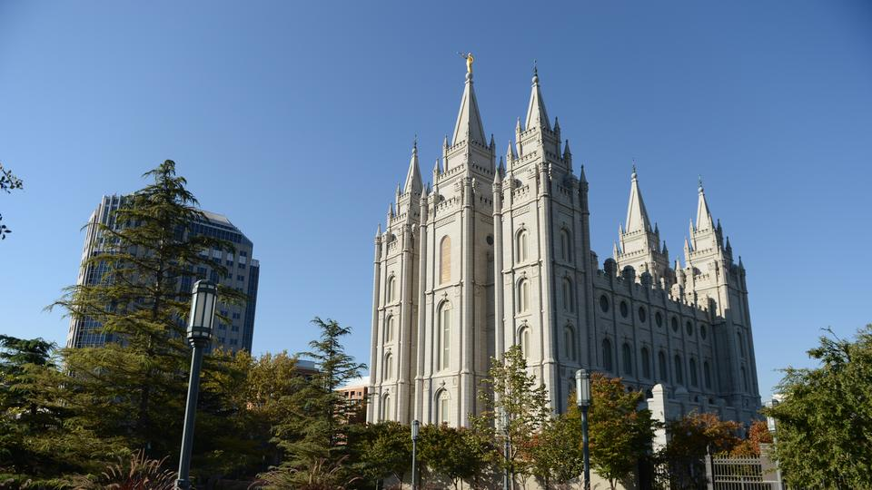 Salt Lake City Temple during the Saturday morning session of the 182nd Semiannual General Conference
