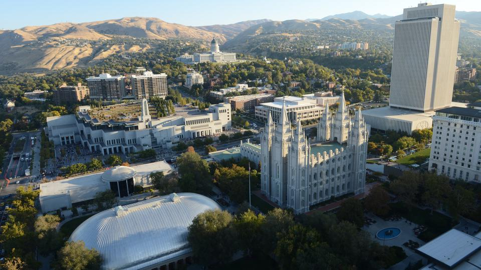 Temple Square during the Saturday morning session of the 182nd Semiannual General Conference